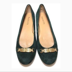 Talbots Brown Suede Ballet Flats w/ Gold Metal